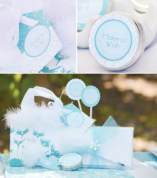 aqua dandelion birthday party white wish puff