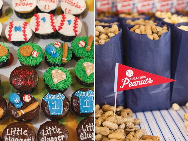 baseball birthday party cupcakes and bags of peanuts