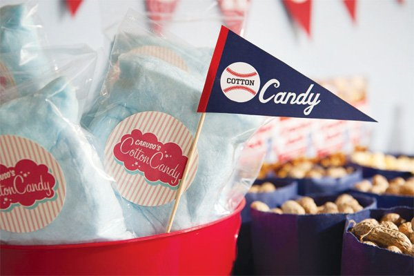 baseball party cotton candy bags and cotton candy pennant flag