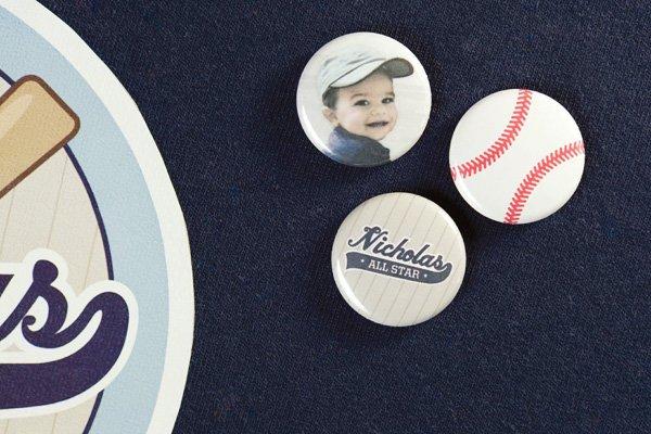 baseball birthday party pins