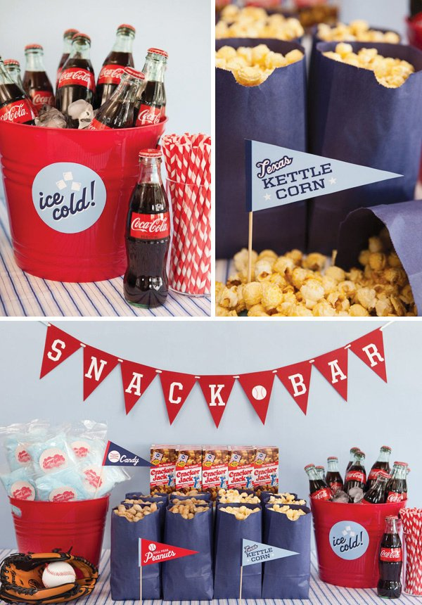 baseball party dessert table with kettle corn and coca cola bottles