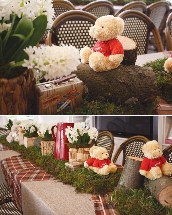 teddy bear picnic birthday party table centerpieces