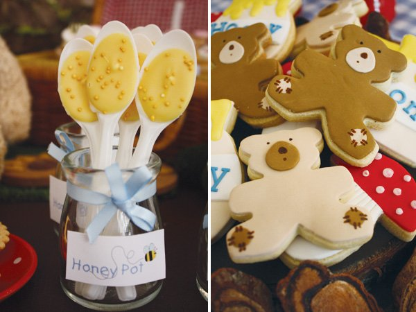 teddy bear picnic birthday party honey pot spoons and bear cookies