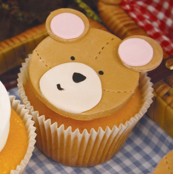 teddy bear picnic birthday party teddy fondant cupcake topper