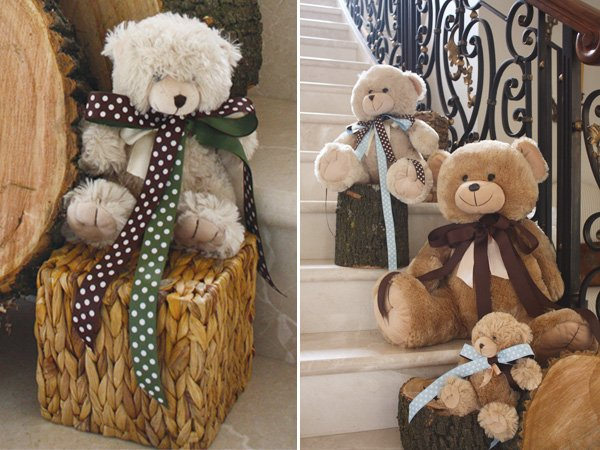 teddy bear picnic birthday party stair decoration with tree stumps and dolls