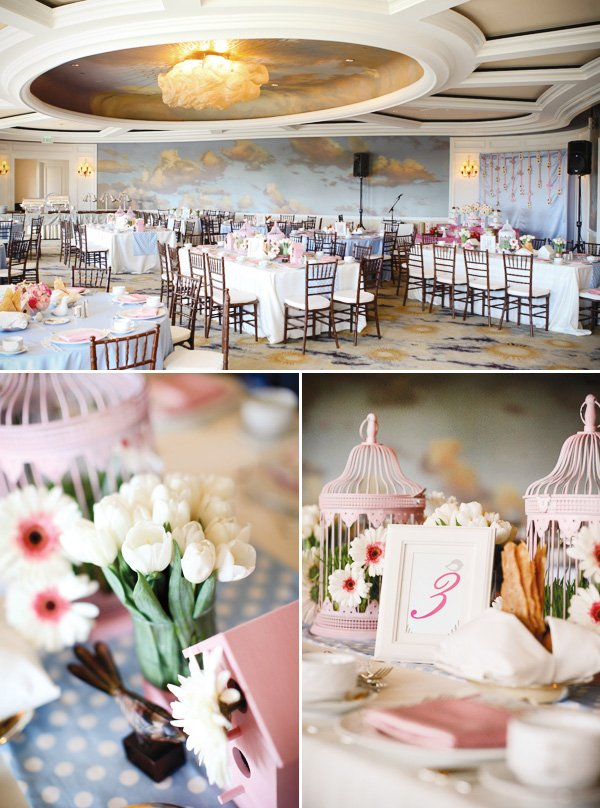 bird cage centerpieces and white tulips