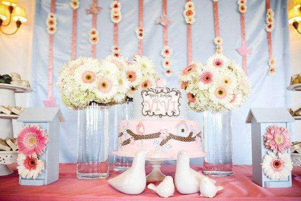 bird tweet first birthday cake in pink and powder blue