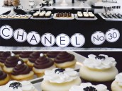black and white chanel dessert table with camilla flower cupcakes