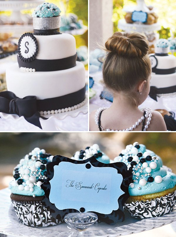 Breakfast at Tiffany's Birthday Party - cake and cupcakes