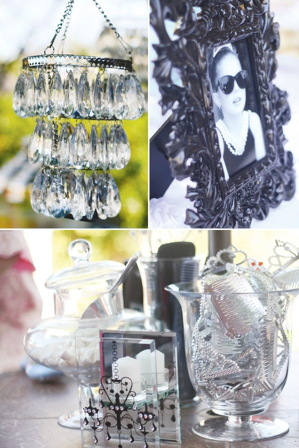 Breakfast at Tiffany's Birthday Party - crystal candleholders and decorations