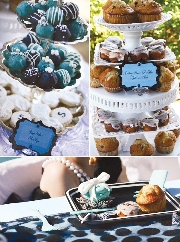Breakfast at Tiffany's Birthday Party - blue cake balls and Tiffany cupcakes