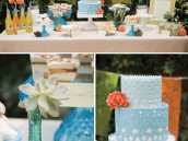 cinco de mayo sweets table and closeup on blue ombre cake