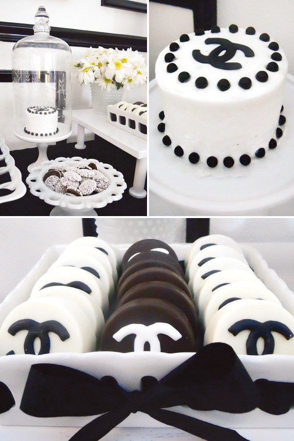 black and white chanel dessert table with cakes and cookies