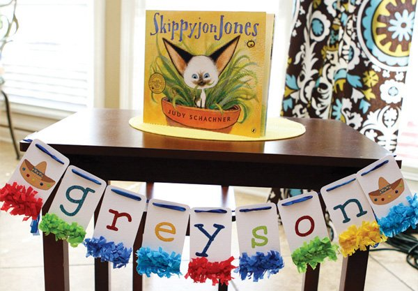 colorful mexican fiesta party book sign