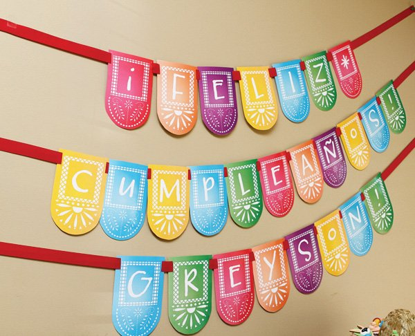 colorful mexican fiesta party bunting banner