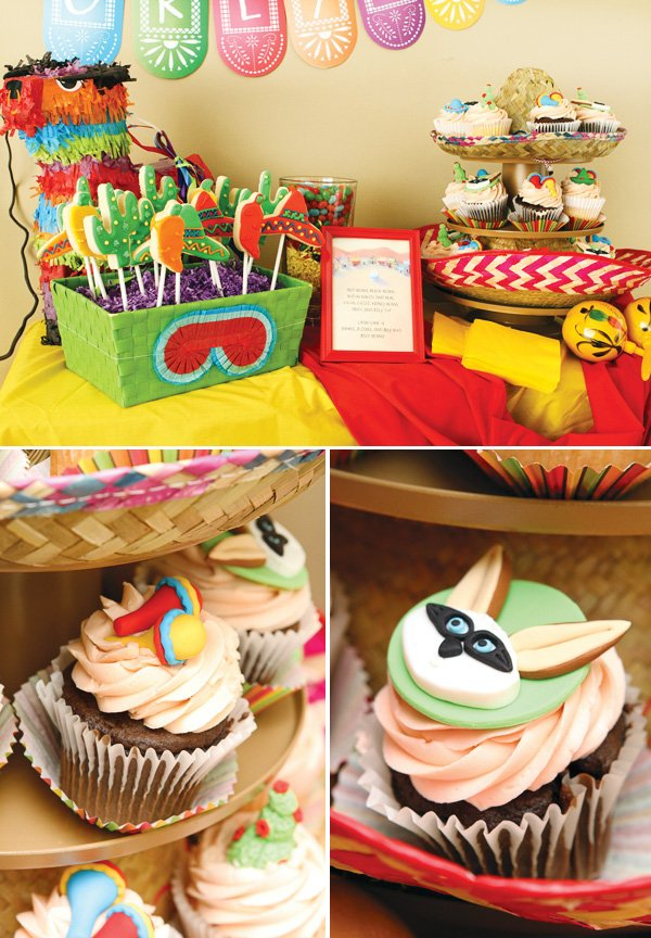 colorful mexican fiesta party dessert table and cupcakes