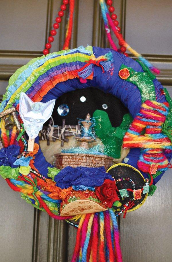 colorful mexican fiesta party door hang