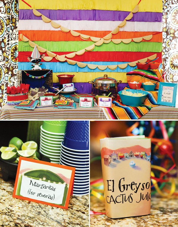 colorful mexican fiesta party food table and drinks