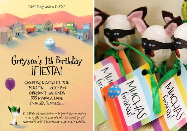 colorful mexican fiesta party invitation and favors