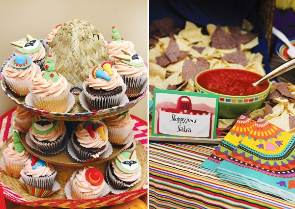colorful mexican fiesta party sombrero cupcakes