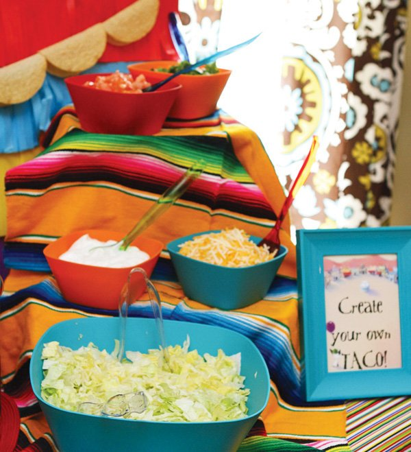 colorful mexican fiesta party taco bar