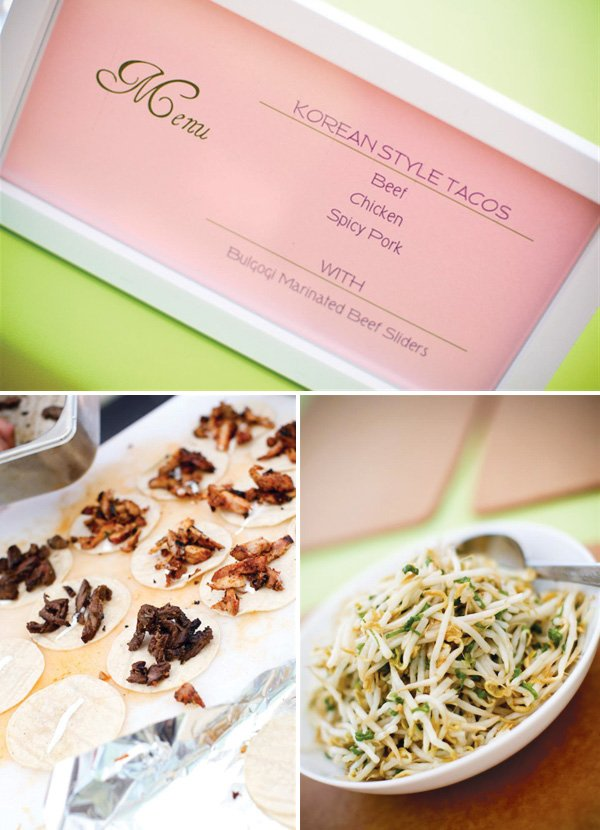 Korean Dol first birthday party menu - korean style tacos