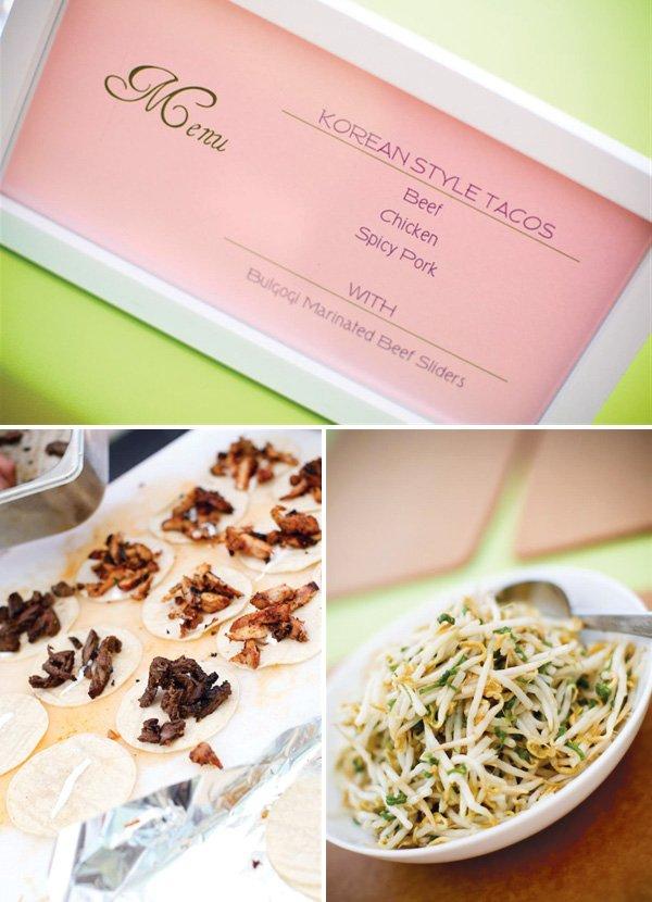 Korean Dol first birthday party menu - korean style tacos