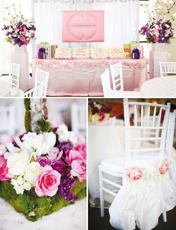 pink purple and white Korean Dol First Birthday Party