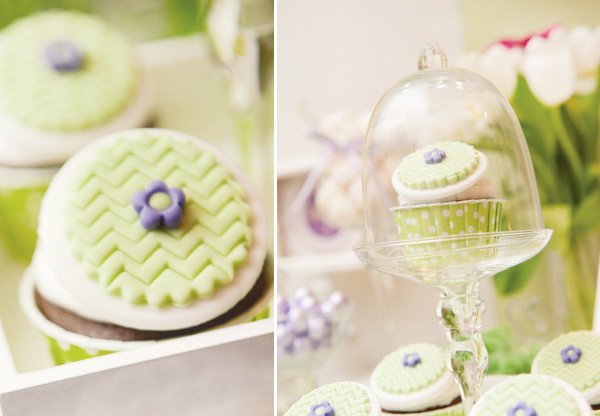 green cupcake toppers at a dragonfly baby shower