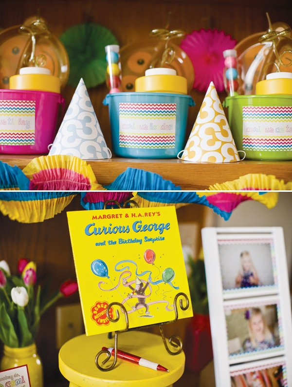 curious George party based on the book and party hats