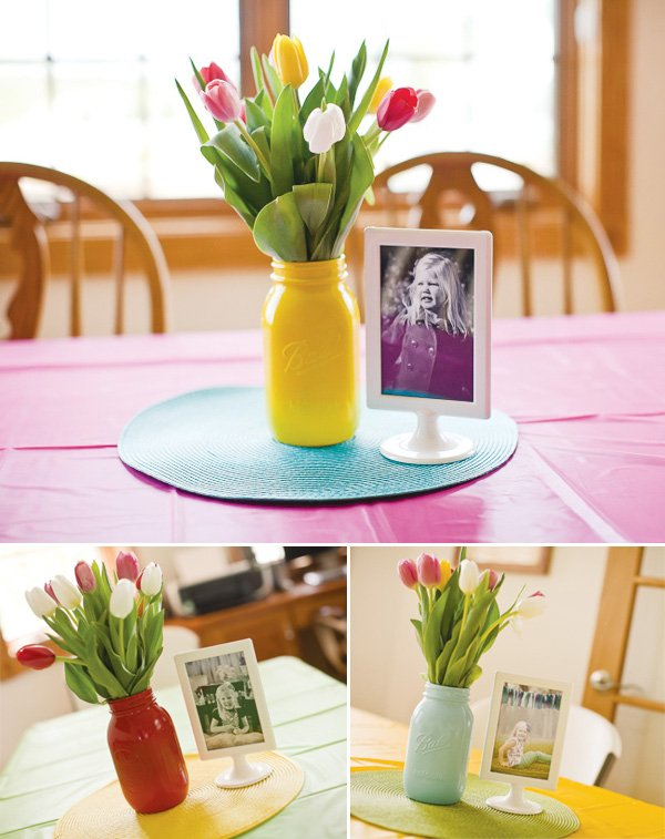 curious George birthday party centerpieces with tulips and mason jars