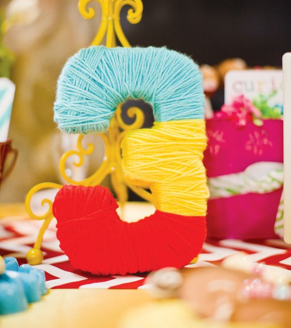 curious George party yarn decorations