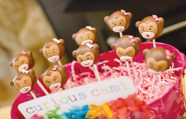 curious George theme party with monkey cake pops