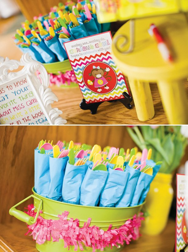 curious George party utensils and chevron invitation