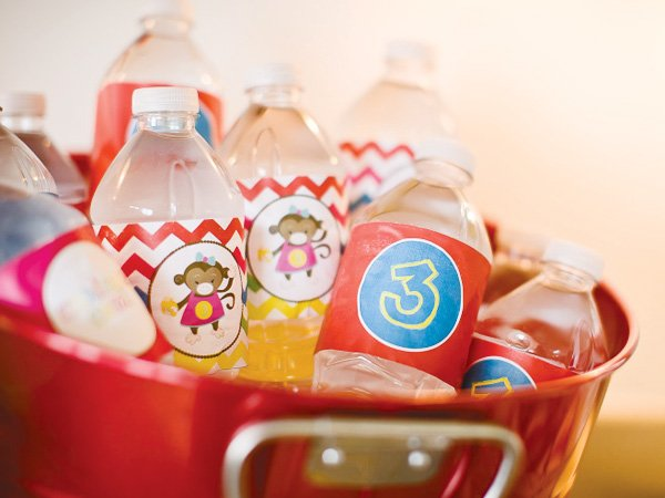 curious George party water bottle labels with a chevron pattern