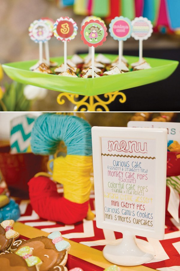 curious George party menu and toppers