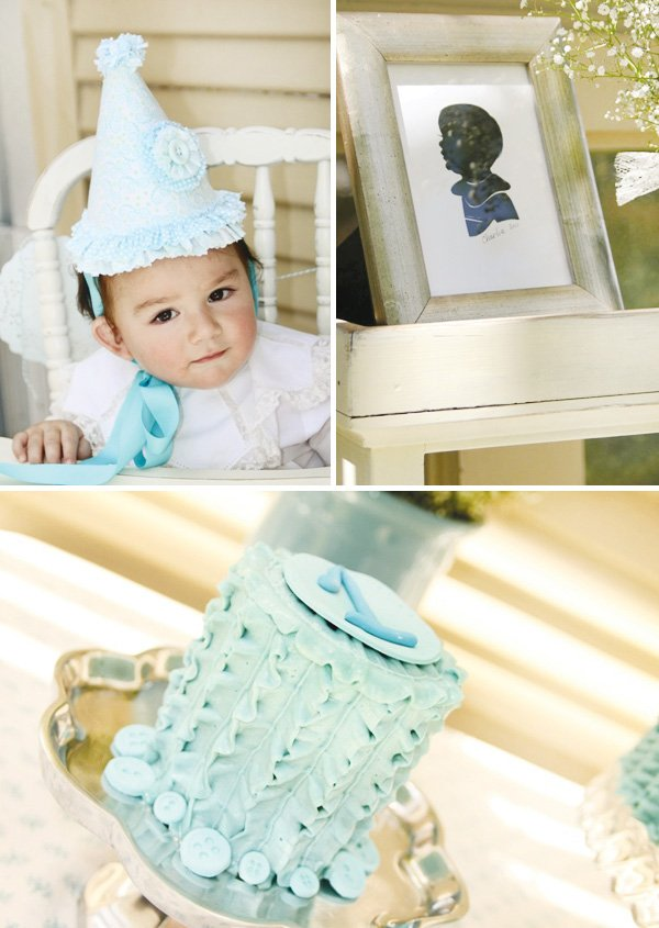 cute as a button vintage birthday party cake and birthday boy hat