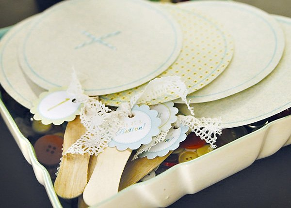 cute as a button vintage birthday party decorated fans