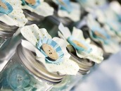 cute as a button vintage birthday party decorated jars