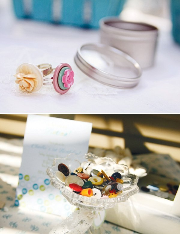 cute as a button vintage birthday party activity including ring decorating