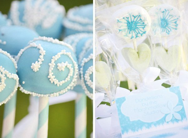 aqua dandelion birthday party cake and marshmallow pops