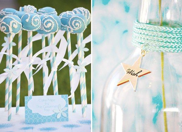 aqua dandelion birthday party with white cake pops on straws