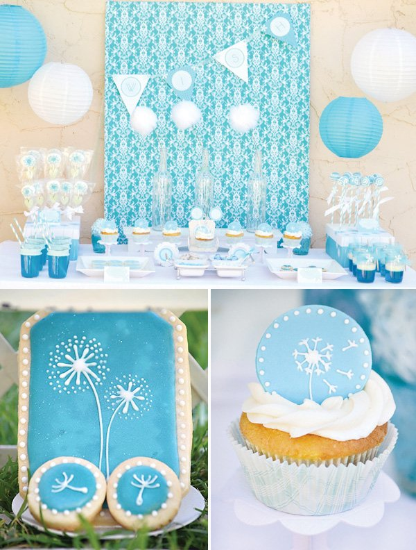 Aqua Dandelion Birthday Party With A Blue And White Dessert Table