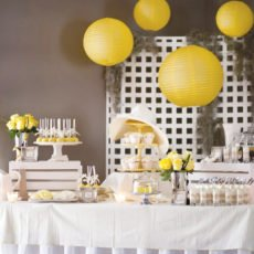 kentucky derby party fundraiser dessert table in yellow