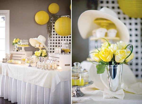 derby party fundraiser in yellow desserts and flowers