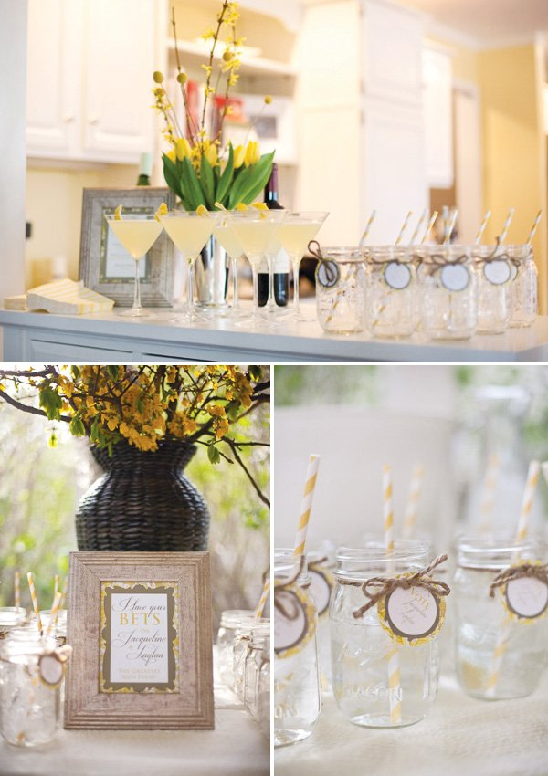 derby party fundraiser in yellow drinks and mason jars