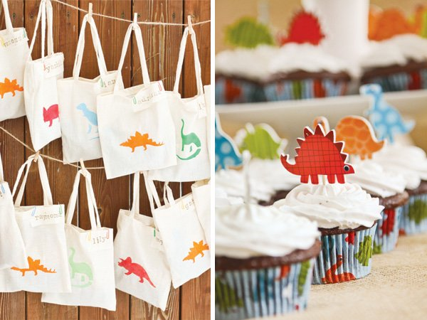 dino party cupcake toppers and crafted tote bags