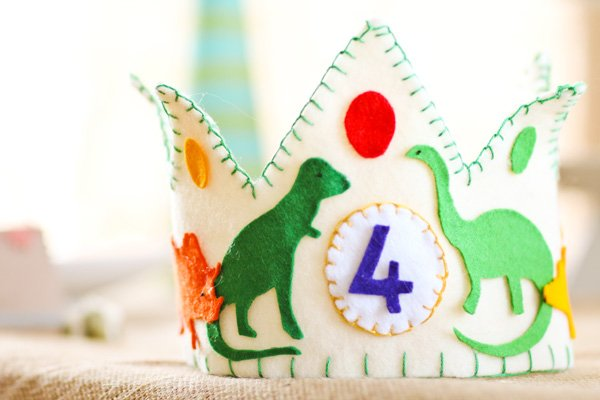 dino party felt diy birthday boy crown