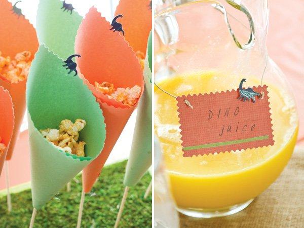 dinosaur party popcorn cones