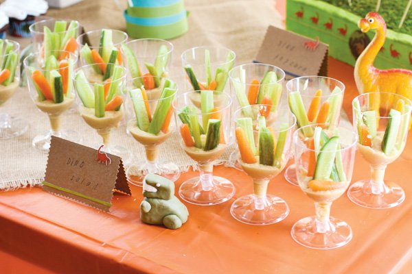 dino party veggie cups